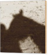 Shadow Of Horse And Girl Wood Print