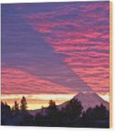 Shadow Of Mount Rainier Wood Print by Sean Griffin