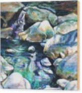 Shadow Play In Mission Creek Wood Print