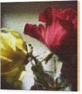 Shadow Roses Wood Print