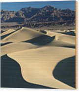 Shadows And Light On The Sand Dunes Wood Print