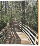 Shadows On A Boardwalk Through The Swamp Wood Print