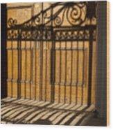 Shadows On A Wood Door Wood Print