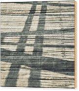 Shadows On A Wooden Board Bridge Wood Print