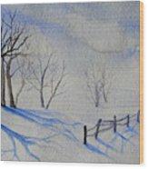 Shadows On The Snow Wood Print