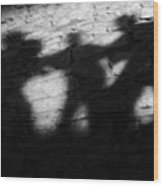 Shadows On The Wall Of Edinburgh Castle  Wood Print