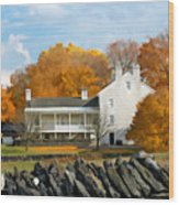 Shaker House And Stone Fence Wood Print