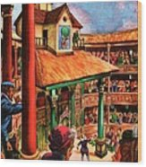 Shakespeare Performing At The Globe Theater Wood Print