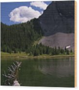 Shallow Mountain Lake Wood Print