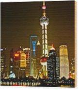 Shanghai By Night Wood Print