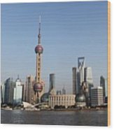 Shanghai Skyline Wood Print