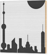 Shanghai Sunshine Black White Wood Print