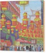 Shanghi Lanterns II Wood Print