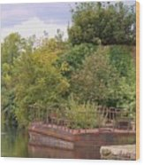 Shannon River Barge Wood Print