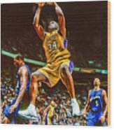Shaquille O'neal Los Angeles Lakers Oil Art Wood Print