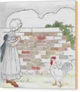 Shara And The Rooster Wood Print