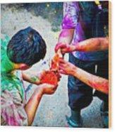Sharing Colors Sharing Happiness Wood Print