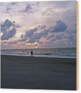 Sharing The Beach At Sunrise Wood Print