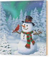 Sharing The Wonder - Christmas Snowman And Birds Wood Print