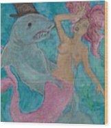 Shark And The Mermaid  Wood Print