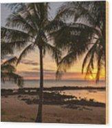 Sharks Cove Sunset 3 - Oahu Hawaii Wood Print