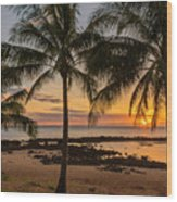 Sharks Cove Sunset 4 - Oahu Hawaii Wood Print
