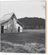 Shasta Barn Wood Print by Kathy Yates