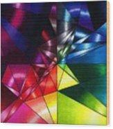 Shattered Rainbow Triangles Optical Art Wood Print