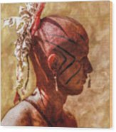 Shawnee Indian Warrior Portrait Wood Print by Randy Steele