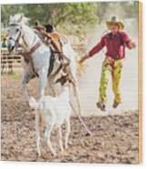 Shawnee Sagers Goat Roping Competition Wood Print