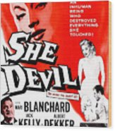 She Devil, Blonde Woman Featured Wood Print