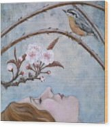 She Dreams The Spring Wood Print by Sheri Howe