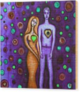 She Grieves The Hole In His Heart-purple Wood Print