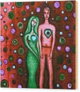 She Grieves The Hole In His Heart-red Wood Print by Brenda Higginson