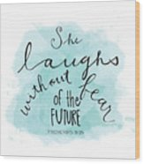 She Laughs Wood Print
