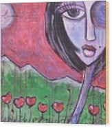 She Loved The Poppies Wood Print