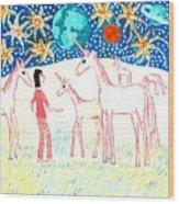 She Meets The Moon Unicorns Wood Print