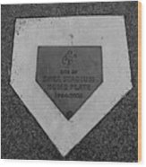 Shea Stadium Home Plate In Black And White Wood Print by Rob Hans
