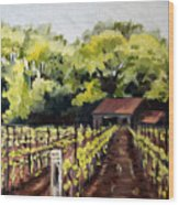 Shed In A Vineyard Wood Print