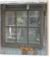 Shed Window Wood Print