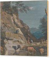 Sheep And Three Peasants Below A Cliff Wood Print