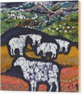 Sheep At Midnight Wood Print