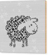 Sheep Black Star Wood Print