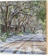 Sheep Farm - Snow Wood Print