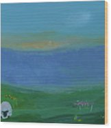Sheep In The Meadow Wood Print