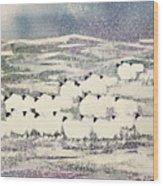 Sheep In Winter Wood Print