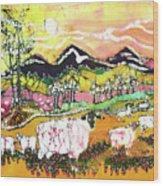 Sheep On Sunny Summer Day Wood Print