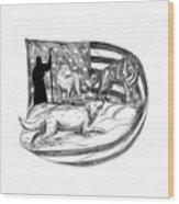 Sheepdog Protect Lamb From Wolf Tattoo Wood Print