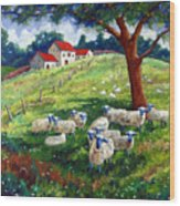 Sheeps In A Field Wood Print