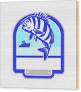 Sheepshead Fish Jumping Fishing Boat Crest Retro Wood Print
